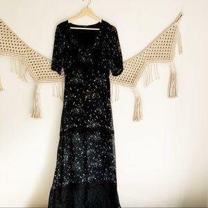 Free People Lace Panel Peasant Maxi Dress